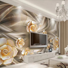 Milofi customized large wallpaper mural 3D three-dimensional flower jewelry TV living room background wall decorative painting(China)