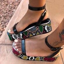 Sandalias de mujer, zapatos Vintage sexis con estampado de serpiente, sandalias de plataforma con punta abierta, sandalias de talla grande de piel de serpiente, Sandali Donna elegante rosa/amarillo