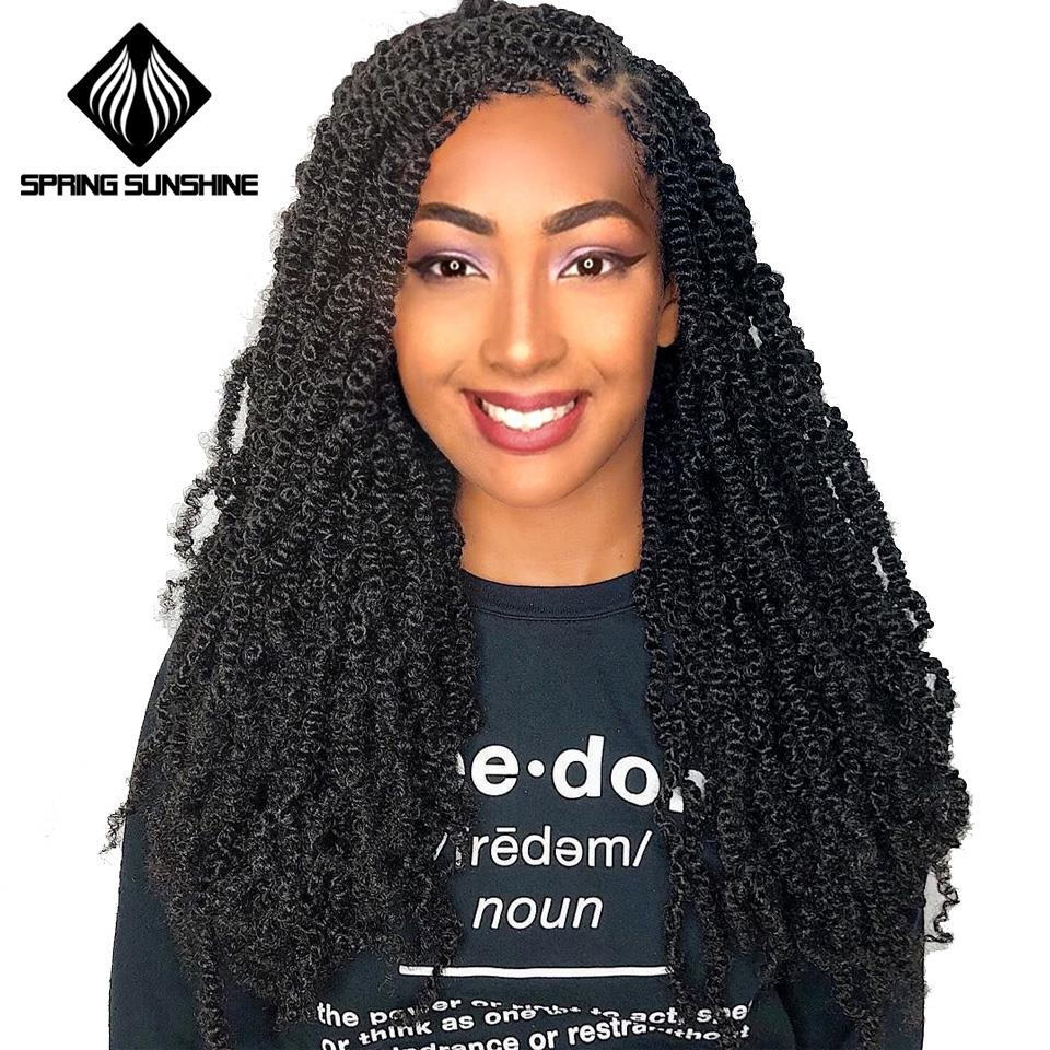 Pre Twisted Passion Twist Bomb Crochet Hair Synthetic Ombre Crochet Braids Pre Looped Fluffy Twists Braiding Hair Bulk