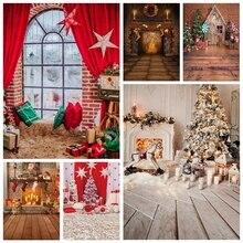 Laeacco Kerst Fotografie Achtergronden Familie Portret Photophone Boom Haard Gift Kerstman Licht Baby Pasgeboren Achtergrond