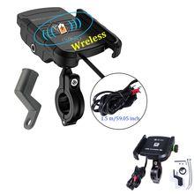 Беспроводное зарядное устройство для мотоцикла с креплением на зеркало заднего вида QC3.0 с USB быстрой зарядкой для мобильного телефона, смартфона, держатель на руль