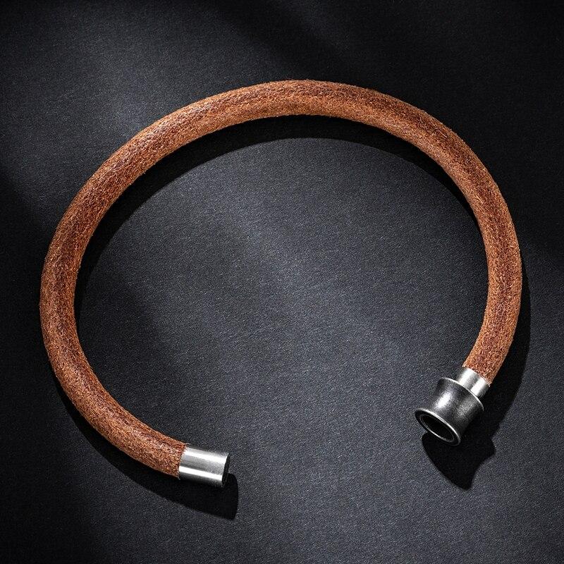 MOZO FASHION 2020 Retro Simple Men Charm Bracelets Brown Genuine Leather Rope Braided Bracelet Classic Women Jewelry Gifts 611