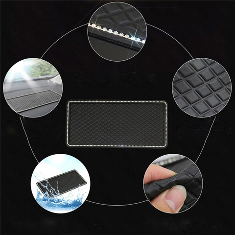 Car Anti Slip Mats Black Auto Dashboard Sticky Anti-skid Pads Phone MP3 GPS Sunglasses Keys Holder Mount Bracket Gadgets Styling Multan