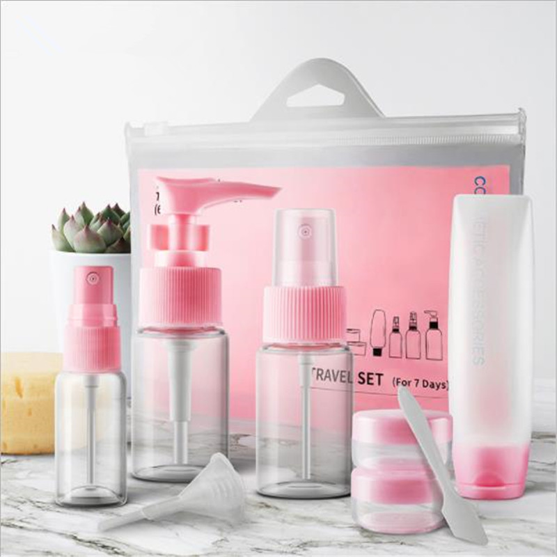 9Pcs/Set Mini Pink Cosmetic Refillable Bottles Package PET Empty Pressing Spray Bottle Makeup Tools Kit Travel Accessories
