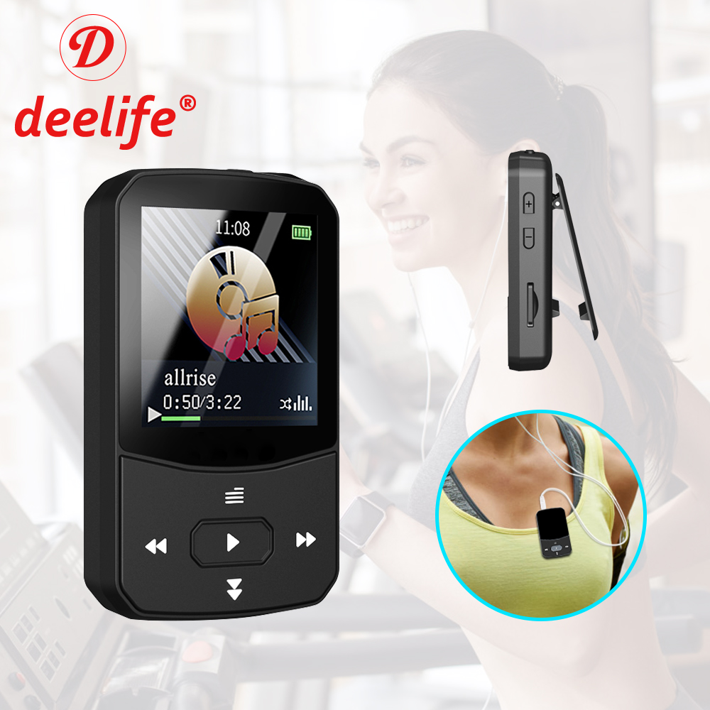 Deelife Sport Bluetooth MP3 Player for Running with Music Play Armband Portable Clip Pedometer FM Radio TF Recording Mini Mp 3