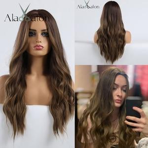 Image 2 - EATON perruques synthétiques ondulées brunes foncées ombrées, blondes, naturelles, pour femmes, coiffure Cosplay en Fiber haute température