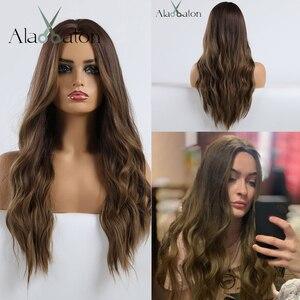 Image 2 - אלן איטון Ombre כהה חום בלונדיני ארוך גלי תסרוקת פאות עבור נשים טבעי גל סינטטי שיער סיבי טמפרטורה גבוהה קוספליי