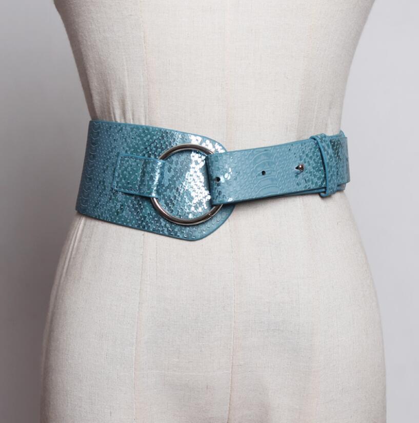 Women's Runway Fashion PU Leather Cummerbunds Female Dress Corsets Waistband Belts Decoration Wide Belt R1983