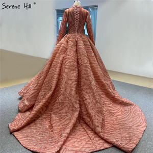 Image 4 - Moslim Oranje Hoge Kraag Lovertjes Avondjurken 2020 Lange Mouwen Sparkle Luxe Bruidsjurken HA2293 Custom Made