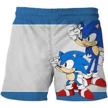 Шорты детские для мальчиков и девочек, модные пляжные короткие штаны с 3D эффектом Соник, повседневные спортивные, на лето