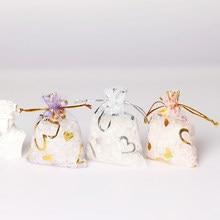 50 adet 7*9/9*12cm küçük organze çanta düğün dekorasyon uğurlu takı ambalaj poşetleri İpli kalp tasarım hediye çantası torbalar