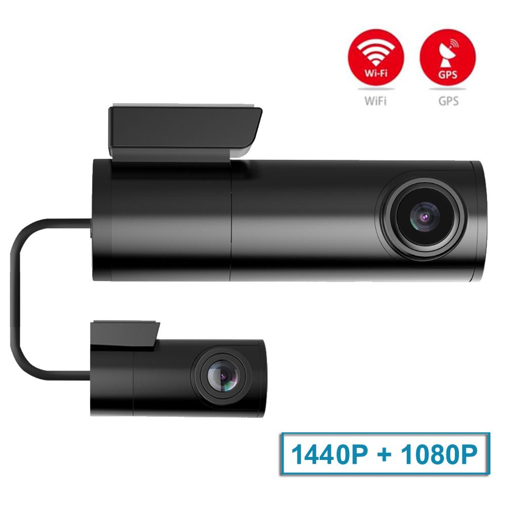 mini wifi car dash cam front cam 1440P car dvr dual cameras gps tracker Night Vision Recorder Rotatable Len parking monitor image