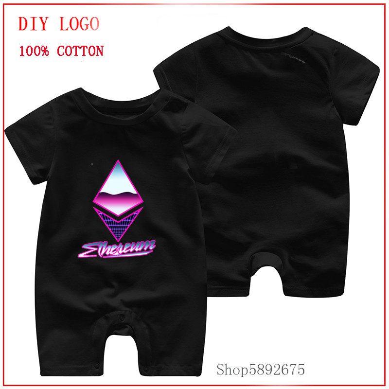 C 2020 100% Pure Cotton girl and boy Baby Short Sleeve Jumpsuit  Ethereum - 80s Retro bitcoin new style One-Pieces baby clothes 1