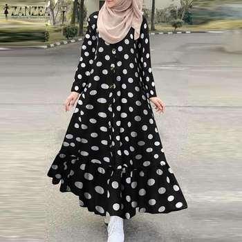 Women s Print Sundress Dubai ZANZEA Turkish Ruffle Dress Kaftan Floral Maxi Vestidos Female Button
