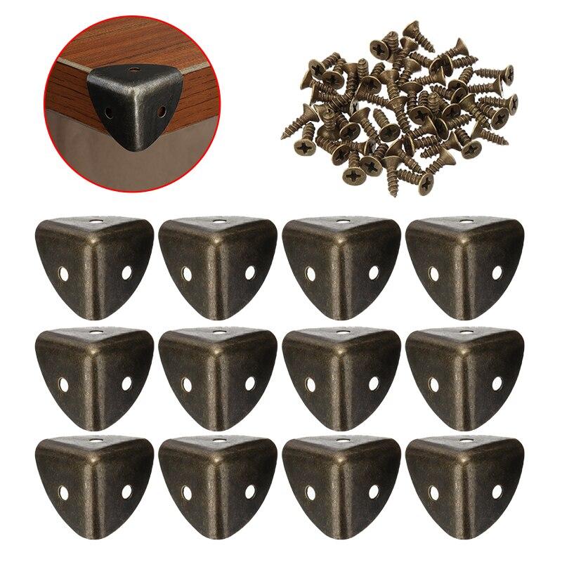 12Pcs Retro Tin Box Gift Box Wrap Corner Code Wood Furniture Corner Protector Metal  Iron Desk Edge Corner Guard Decor Hardware