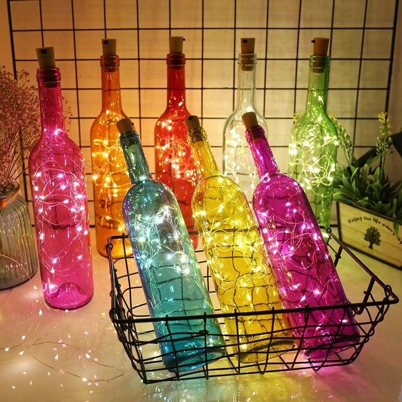5Pack LED Wine Bottle Cork Lights Bottle Light Super Bright  For Wedding Festival Party Decor Light Copper Wire Lights 9 Colors
