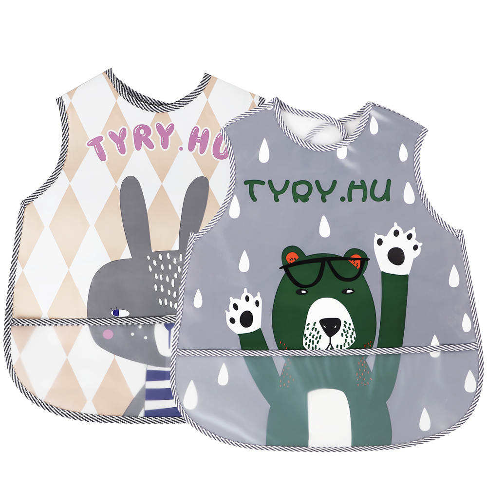 Children's Waterproof Cover Saliva Towel Clothes Translucent Waterproof Clothing EVA Bib Bib Baby Sleevele