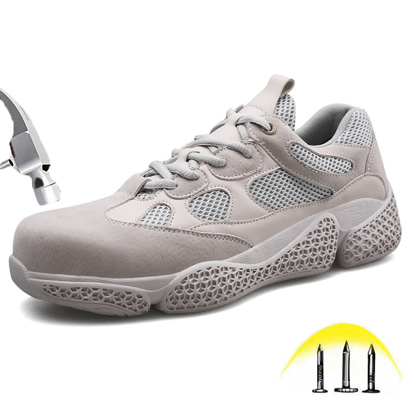 New Fashion 2019 Steel Toe Safety Work Shoes Breathable Suede Leather Rubber Outsole Sneakers Outdoor Casual Protective Boots