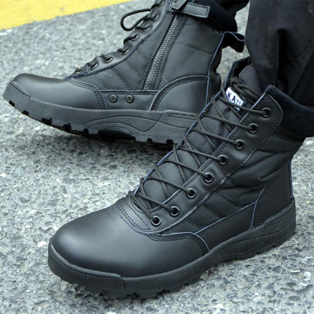 Men Outdoor Military Tactical Combat Boots Breathable Oxford Wear Resistant Waterproof Boot Non-Slip Desert Climbing Sports Shoe 2