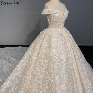 Image 5 - Sequined Sparkle Off Shoulder Bride Gown 2020 Ivory Luxury Vintage Sleeveless Sexy Wedding Dresses BHA2317 Couture Dress