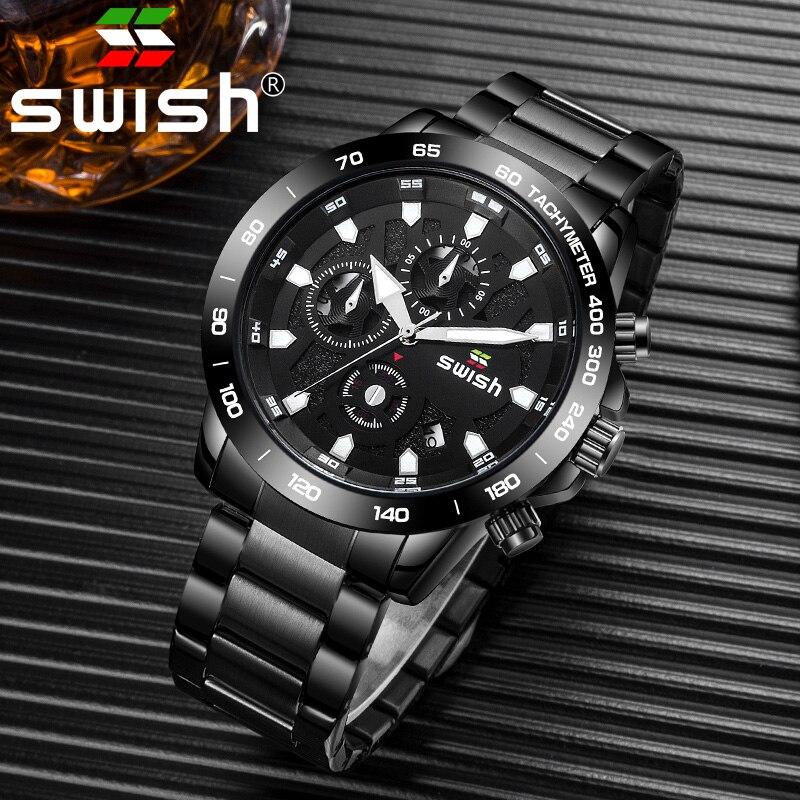 SWISH Fashion Quartz Sport Men Watch Business Full Steel Clock Mens Watches Top Brand Luxury Waterproof Watch
