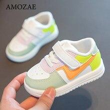 Chaussures souples de sport en cuir pour bébé,baskets plates pour enfants en bas âge, pour fille et garçon, à la mode, décontracté,