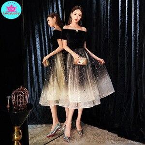 Image 2 - 2019 novo banquete elegante preto sexy seção longa palavra ombro magro emagrecimento vestido de festa fora do ombro retalhos