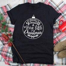 Рождественская футболка с надписью «Merry Christmas», зимняя футболка с коротким рукавом, милые женские топы для графического праздника