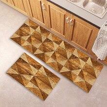 Tapete de cozinha quarto sala de estar tapete de madeira padrão banheiro antiderrapante longo rugentrance capacho casa corredor varanda piso