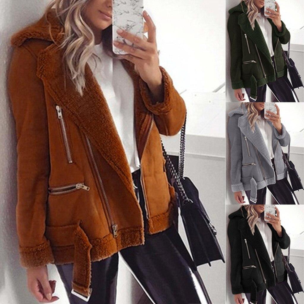 New Winter Long Sleeve Arrial Women Winter Suede Faux Leather Jackets Lady Fashion Matte Motorcycle Coat Biker Outwear Plus Size
