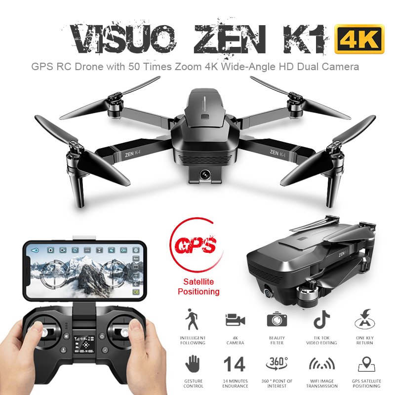 Visuo ZEN K1 GPS RC Drone with 4K HD Dual Camera Gesture Control 5G Wifi FPV Brushless Motor Flight 25mins Dron VS F11 B4W SG906