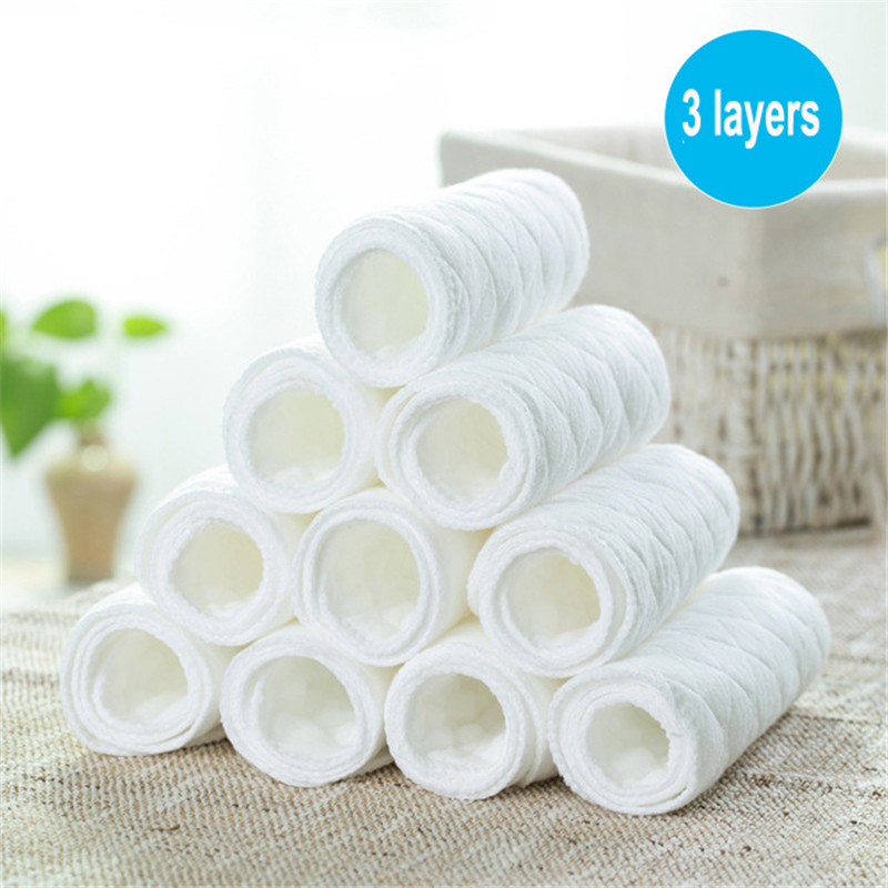 10pcs/lot Baby Washable Reusable 3 Layers Baby Cloth Diaper Insert Super Absorbency Microfiber Nappy Liners