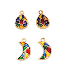 20pcs/lot Fashion Mix Color Waterdrops Moon Shape Enamel Charms KC Gold Color Tone Oil Drop Pendant For Jewelry Making