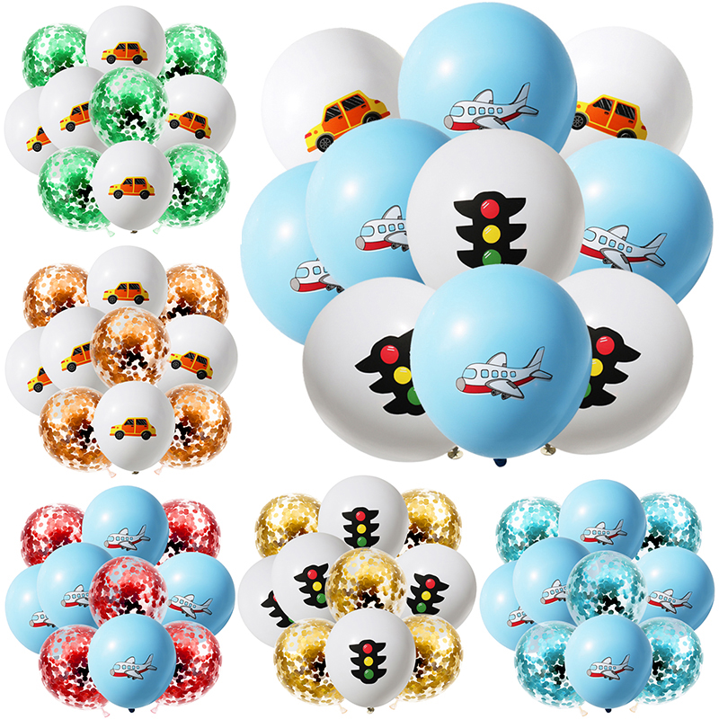 10Pcs 12inch Cartoon Car Airplane Confetti Latex Balloons Aircraft Theme Party Decor Balloon Kids Birthday Baby Shower Air Globs image
