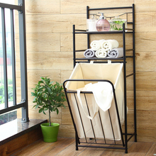 American style Solid durable laundry basket light ventilated toilet round organizer home bathroom dirty clothes storage rack