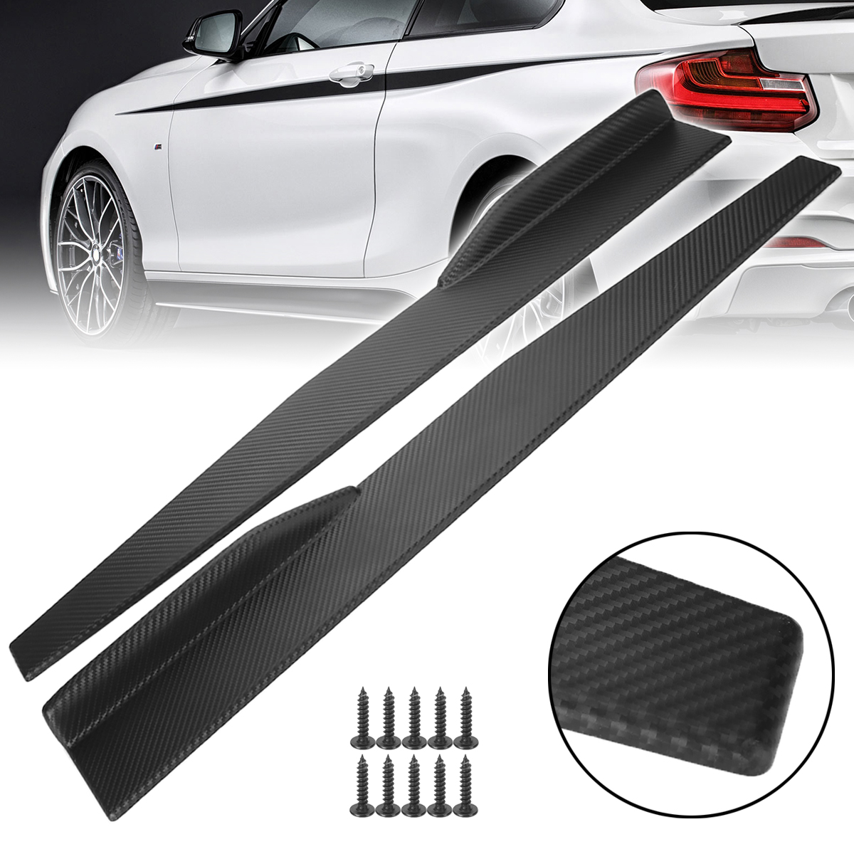 Mayitr 1 Pair 74.5cm Universal Car Side Skirt Rocker Splitters Carbon Fiber Winglet Wings Diffuser Bumpers for Auto Accessories