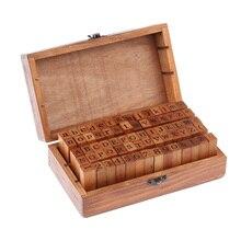 70 Uds DIY letra de alfabeto sello Vintage Teach alfabeto de madera de alta calidad y sellos con números Set con caja de madera marrón oscuro