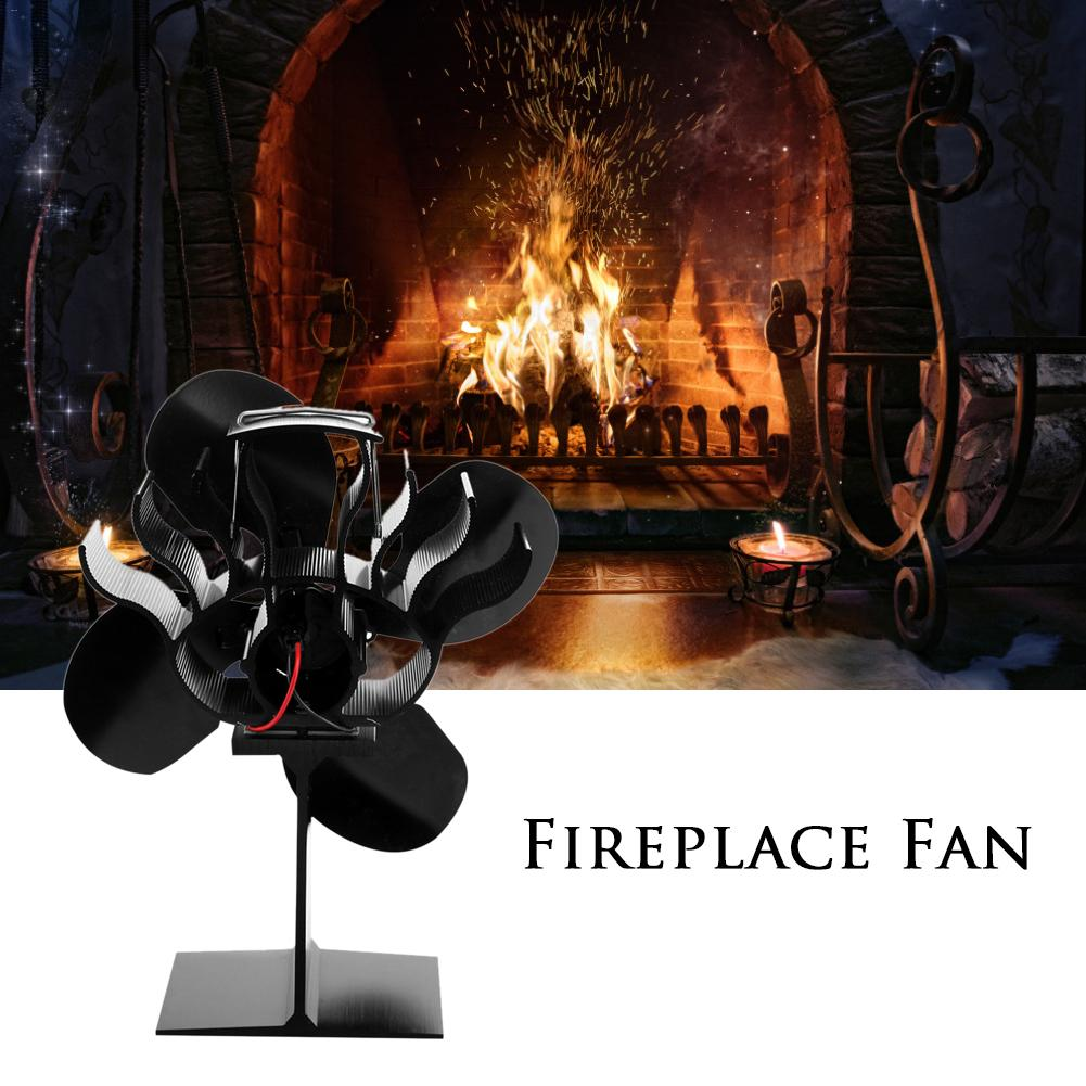 4 Blades Heat Powered Stove Fan Log Wood Burner Fireplace Fan Quiet Black For Wood Home Eco Fan Efficient Heat Distribution