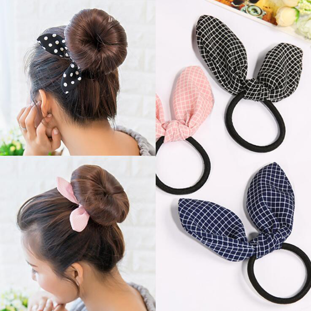 Hot Sale Fashion Casual Hair Ring Black 1PC Rabbit Ears Grid High Quality Hair Ring Hair Care Wholesale & Drop Shipping