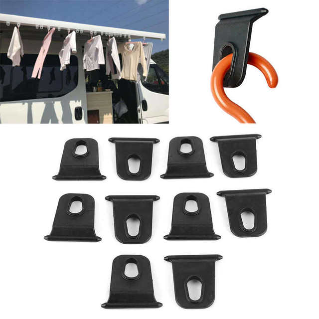 10pcs Portable Awning Hooks Clothes Hanger Organizer Rack Easy to Install for RV Campers Awning Hanging Organizer ABS