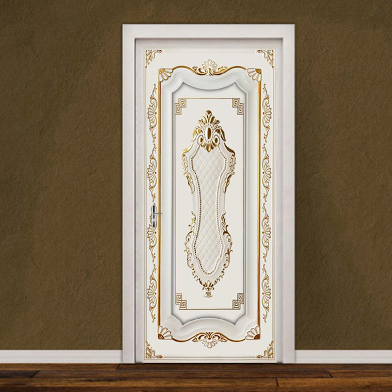 PVC Door Sticker European Style 3D Stereo Golden Gypsum Pattern Wallpaper Living Room Hotel Background Wall Decor 3D Home Poster