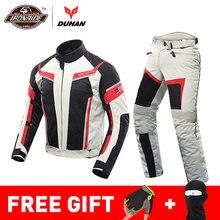 DUHAN letnia kurtka motocyklowa mężczyźni spodnie motocyklowe Moto garnitur oddychająca Chaqueta Moto Racing kurtka do jazdy Moto Protector