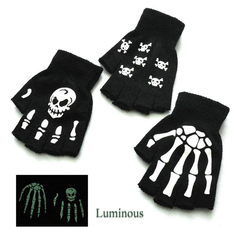 1 пара перчаток-скелетонов, перчатки в стиле Хэллоуина, вязанные перчатки с привидением, перчатки унисекс с полупальцами, светящиеся флуоре...