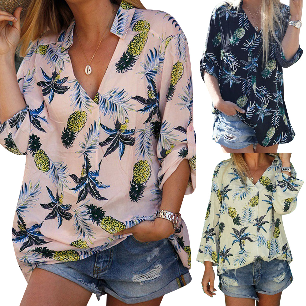 Loose Blouse Long Sleeve Women Shirts Tops Floral Printing blouse Plus Size Casual Femmes Blusas V Neck Blouse camisas mujer D30