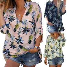 цены Loose Blouse Long Sleeve Women Shirts Tops Floral Printing blouse Plus Size Casual Femmes Blusas V Neck Blouse camisas mujer D30