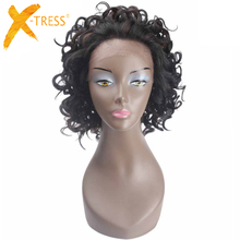 Short Kinky Curly Synthetic Hair Lace Front Wigs For Black Women X-TRESS Ombre B