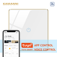 Kamanni WiFi Touch Light Switch 1 Gang 1 Way Tuya APP Control,Voice Control,1/2/3 Gang Black/Golden/Grey/White 4 Colors Optional ifree fc 368m 3 channel digital control switch white grey
