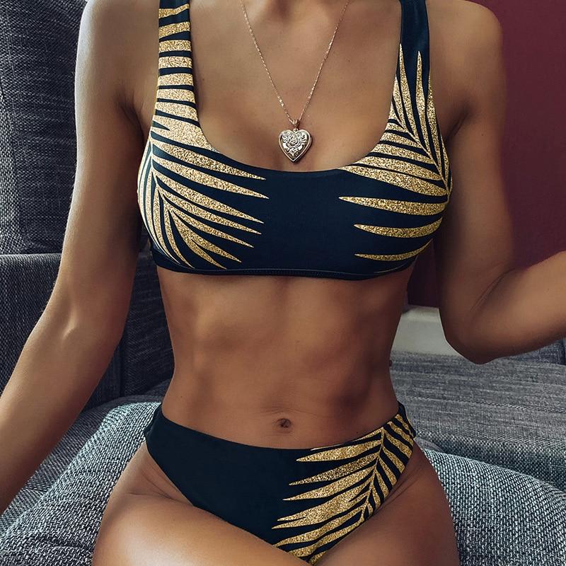 2020 High Waist Bikini Swimsuit Women Sexy Print Bikinis Black Biquini Leaf Print Leopard Bikini Brazilian Micro Swimwear Women