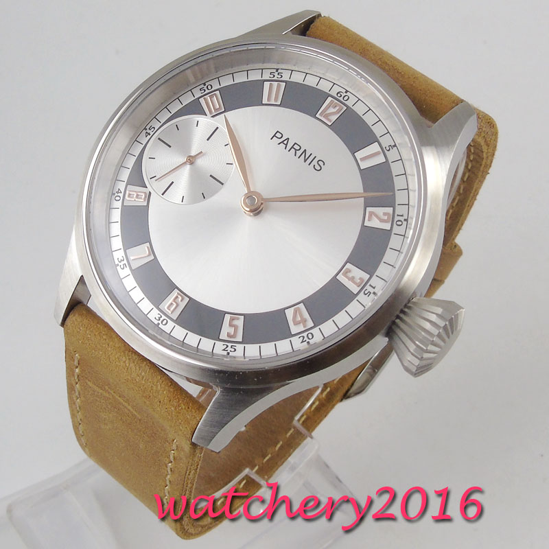 43mm Parnis white dial brown Leather strap Rose Golden Plated numbers mineral glass 6497 hand winding movement Men's Watch
