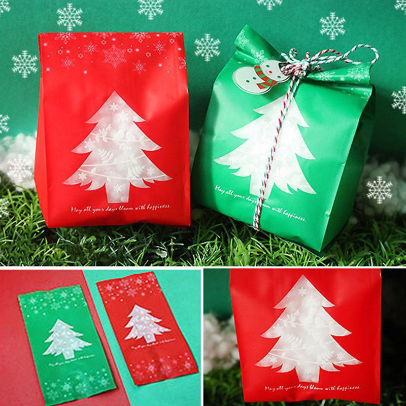 20pcs Plastic Bags Transparent Polka Dot Cookie Bag Gift Package Party Favors Bag Christmas Candy Gift Bags Wrapper Supplies